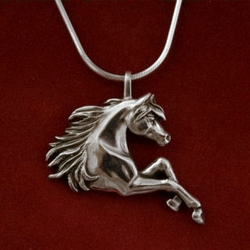 Prancing legs Arabian Horse pendant from Jane Heart Jewelry