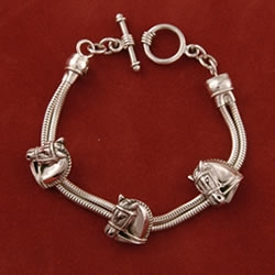 Sterling silver dressage chain bracelet from Jane Heart Jewelry