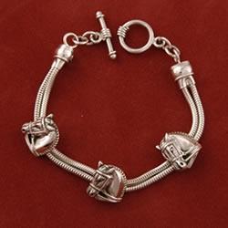Sterling silver dressage chain bracelet from Jane Heart Jewelry
