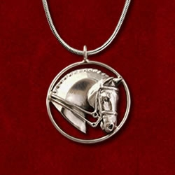 Dressage circle pendant necklace in sterling silver from Jane Heart Jewelry