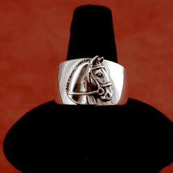 Sterling silver band ring with horsehead by Jane Heart jewelry