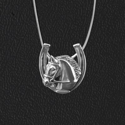 Horseshoe and horsehead pendant necklace from Jane Heart Jewelry