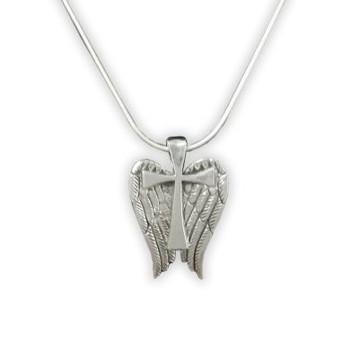 Sterling angel wing cross by Jane Heart Jewelry