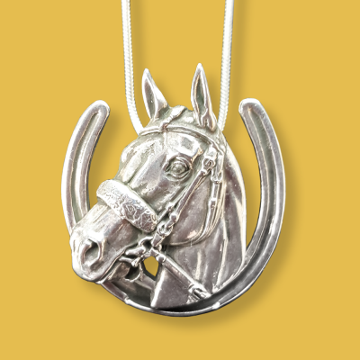 American Pharaoh & Horseshoe pendant in sterling silver