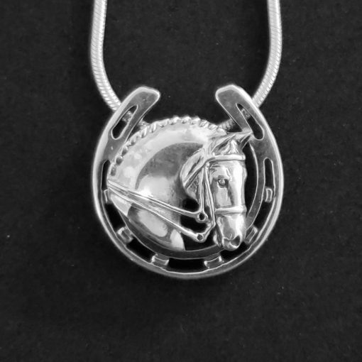 Sterling silver dressage and horseshoe necklace from Jane Heart Jewelry