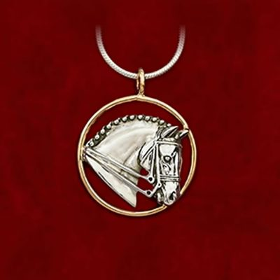14k gold and sterling horse head pendant from Jane Heart jewelry