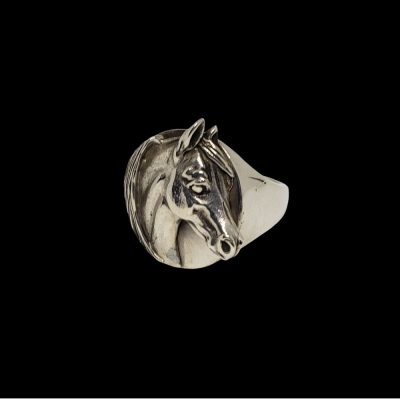 Arabian horse head signet ring